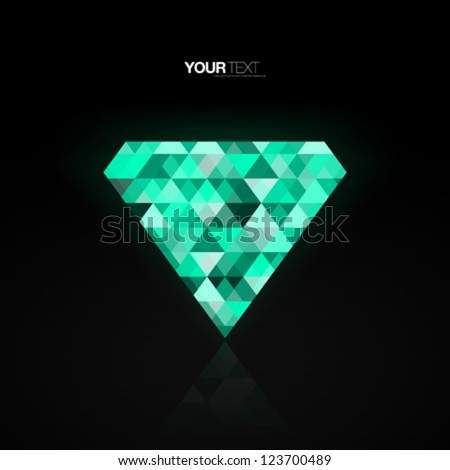 Abstract green diamond background design vector