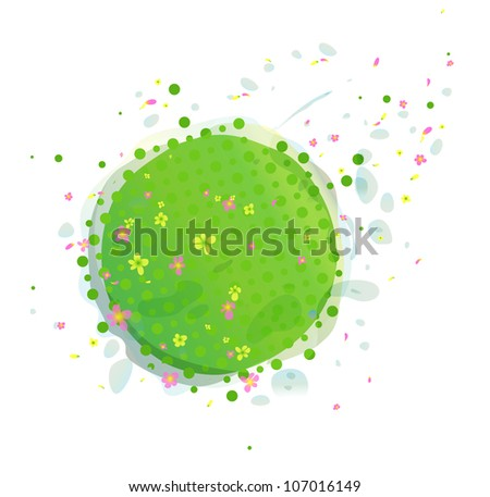 Abstract Green Earth with Flowers. Environmental cartoon illustration, of green earth with flowers.