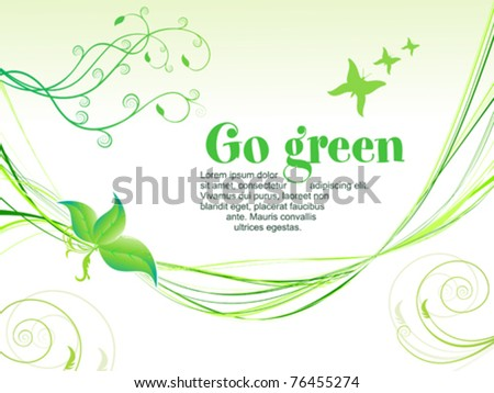 abstract green eco background with wave vector illustration