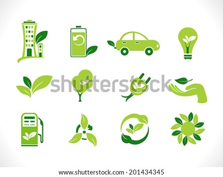 abstract green eco icons vector