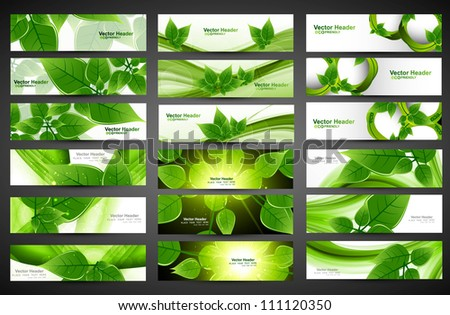 abstract green eco set of vector Headers design illustration