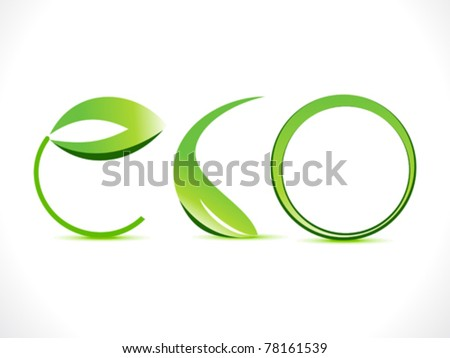 abstract green eco text  vector illustration