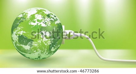 abstract green energy concept with green Earth