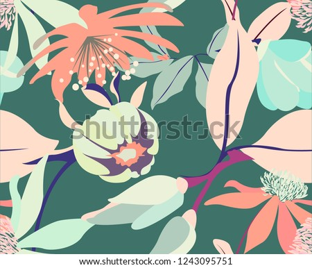 Abstract green floral seamless pattern with magnolias and leaves. Vintage tender spring texture with plants from the garden. Texture with big floral elements.