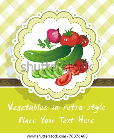 Abstract green food background, Vegetable vector illustration in retro style