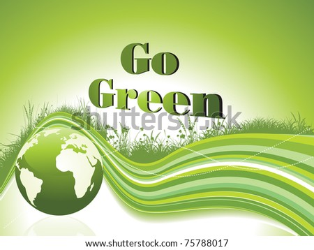 abstract green garden background with wave and globe, vector illustration