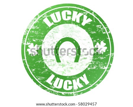 Abstract green grunge rubber office stamp with clovers, horseshoe and the text lucky written inside the stamp