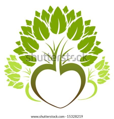 Abstract green heart tree icon logo