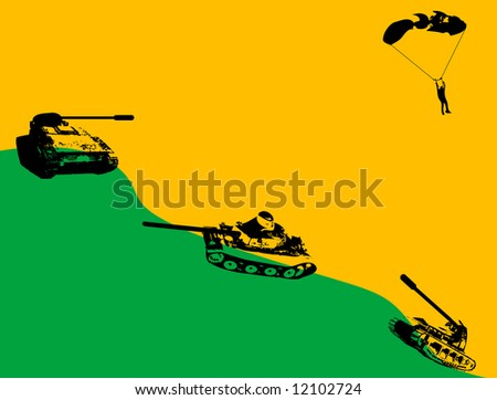 abstract green hill with tank