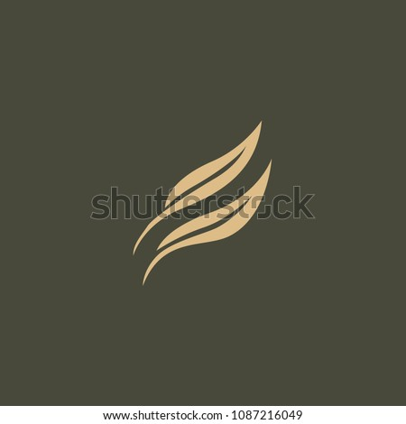 abstract green leaf logo icon