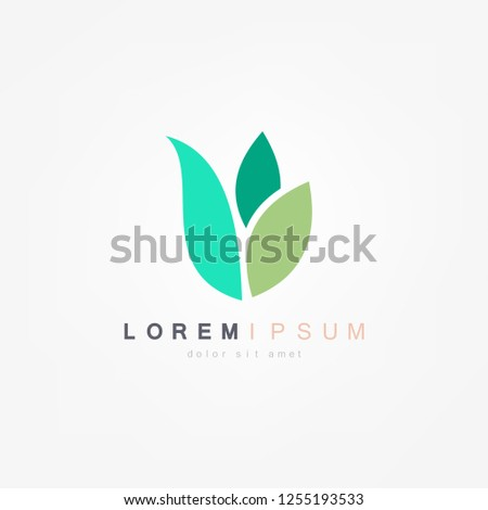 Abstract green leaf logo icon vector design. Plant, nature and ecology vector logo. Vector illustration.