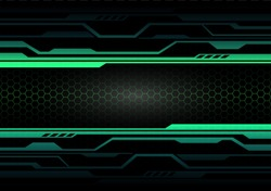 Abstract green light circuit on black with hexagon mesh design modern futuristic technology background vector illustration.