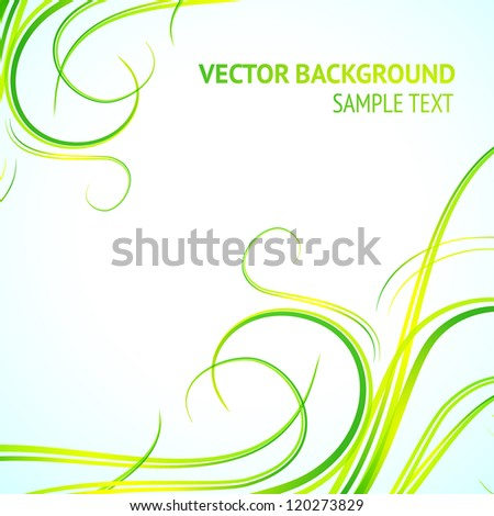 Abstract green lines. Vector Illustration.