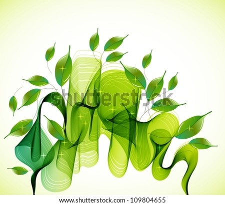 Abstract green natural  background with wave, vector illustration