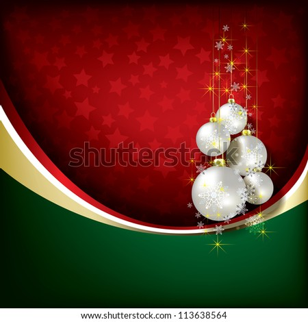 Abstract green red background with Christmas decorations