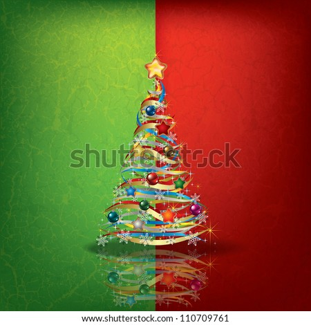 Abstract green red greeting with Christmas tree