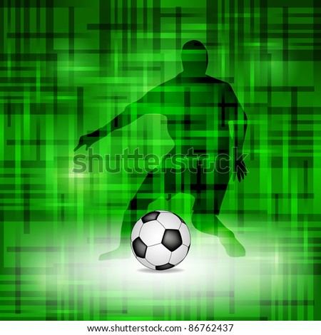 Abstract green soccer background with footballer silhouette
