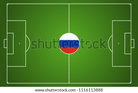 abstract green soccer field with white marks and russian national colors in center point #1116113888