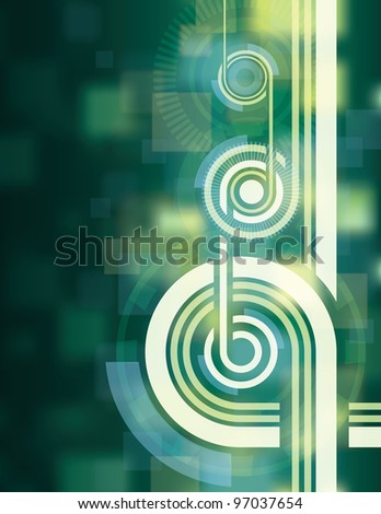 Abstract Green Tech Background. This created in Adobe Illustrator and was saved out as an .eps 10 file. This background uses transparencies and gradients in it to achieve some of its effects.