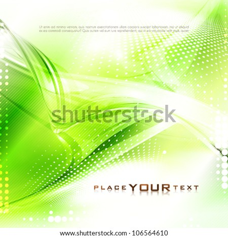 Abstract green tech card with lighting effect. Vector