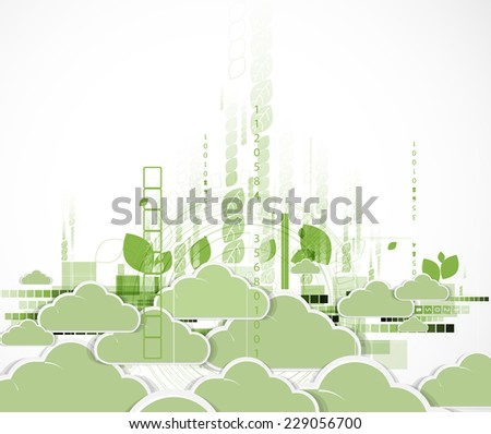 Abstract green technology business concept with cloud. Ecology background