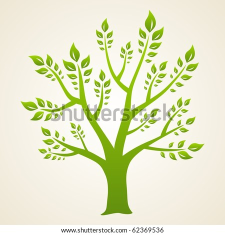 Abstract green tree. Symbol of eco and nature.