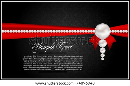 abstract greeting card with pearls - stock vector