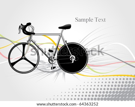abstract grey background with colorful stripes, isolated bicycle