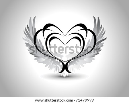 grey background with isolated black creative design heart tattoo ...