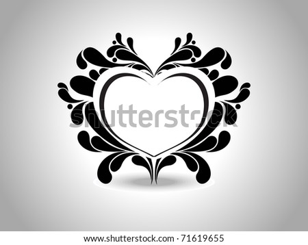 abstract grey background with isolated black creative design heart tattoo