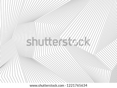 Abstract grey 3d lines refraction geometric minimal background. Vector tech design