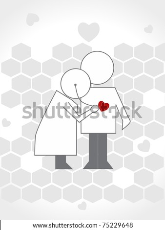 abstract grey heart, honeycomb background with doctor examine patient