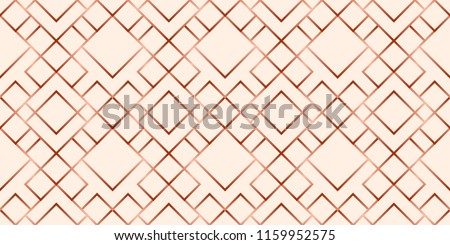 Abstract grid rose gold geometric seamless pattern.
