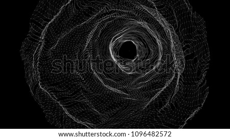 Abstract grid wormhole. Futuristic 3d portal. Space-time portal 3d visualization. Wireframe tunnel.