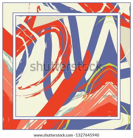 Abstract grunge background, colorful asymmetric pattern. Contemporary modern art for silk scarf shawl design. Digital brushstrokes painted texture for textile fabric, paper print. Fashion illustration