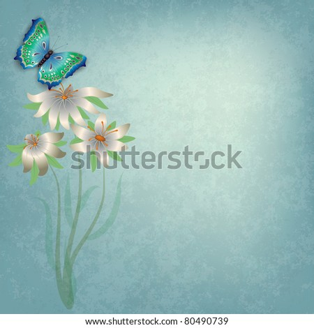 abstract grunge background with butterfly and white flowers