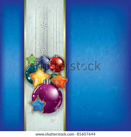 Abstract grunge background with Christmas decorations on blue