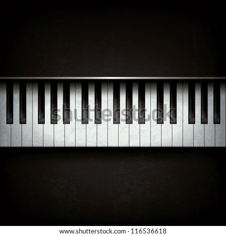 Abstract grunge background with piano on black