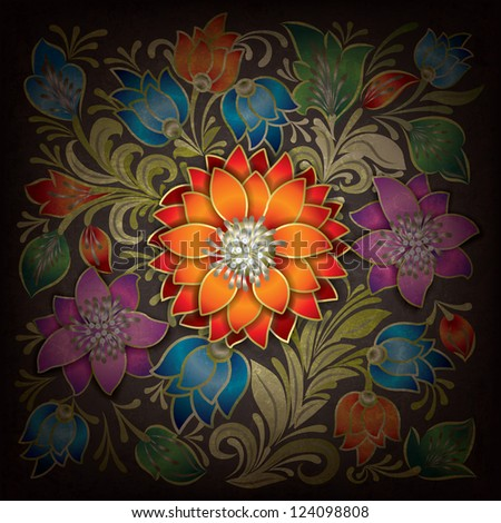 abstract grunge background with red flower and floral ornament - stock vector