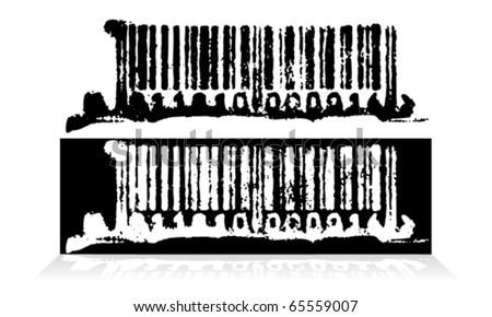 Abstract grunge bar code. Vector