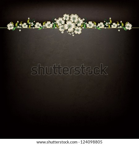 abstract grunge black background with floral ornament