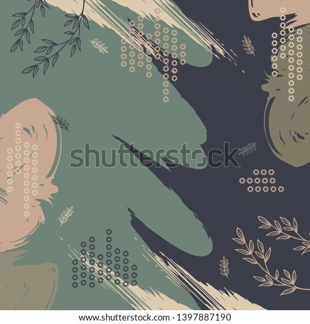 Abstract grunge brush design for silk scarf pattern with leaf and geometric element