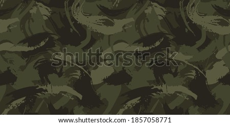 Abstract grunge camouflage, seamless  texture, military camouflage pattern, Army or hunting green camo clothes. Camouflage wallpaper for textile and fabric. Fashion camo style. Vector