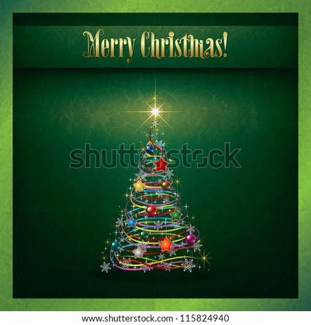 Abstract grunge Christmas greeting with tree on green