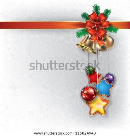 Abstract grunge Christmas white background with hand bells and decorations