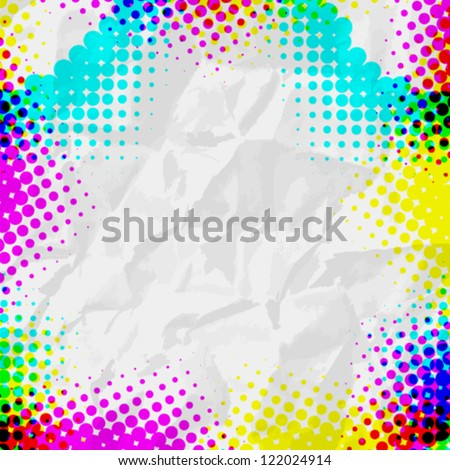 Abstract Grunge colorful Halftone vector illustration pattern background superposition  on white paper