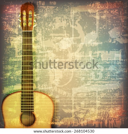 abstract grunge cracked music symbols vintage background with guitar