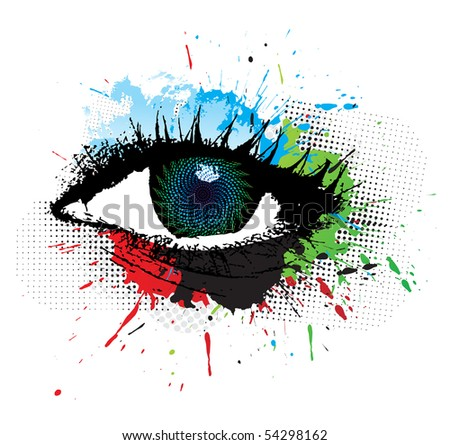 abstract grunge design of beautiful human eye, vector illustration
