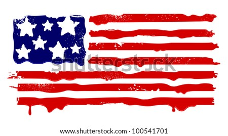 Abstract grunge flag of USA. Vector illustration.