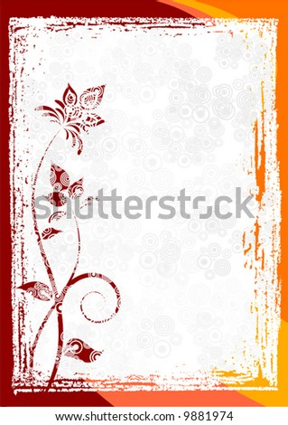 Abstract grunge floral frame vector background.